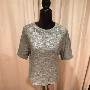 Top shop knitted metallic short sleeve blouse